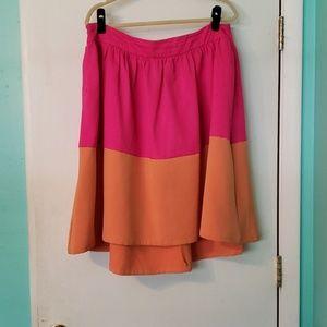 Pleated Color Blocked Midi Skirt